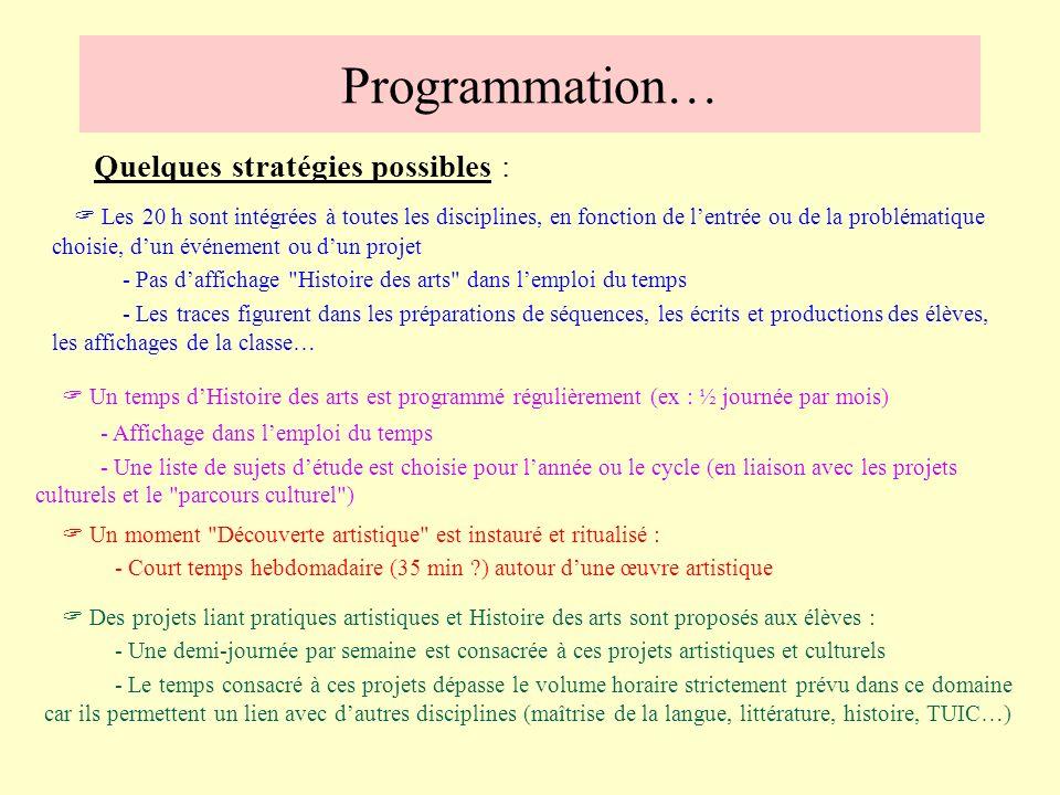 Programmation…Quelques stratégies possibles :