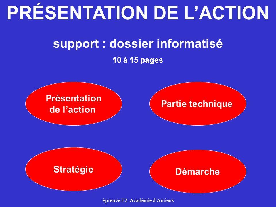 PRÉSENTATION DE L'ACTION support : dossier informatisé