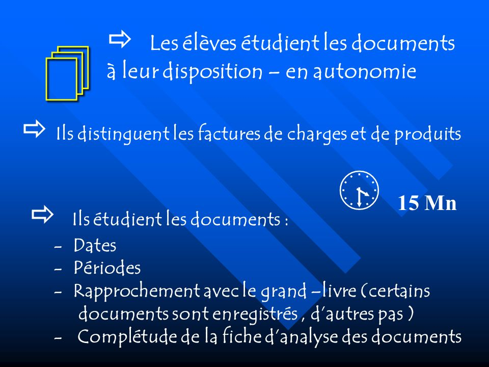   Les élèves étudient les documents à leur disposition – en autonomie.  Ils distinguent les factures de charges et de produits.