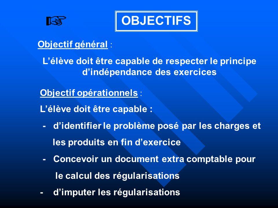 OBJECTIFS Objectif général :