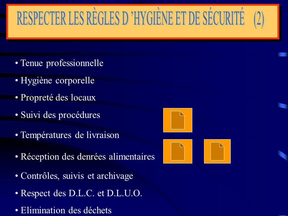 RESPECTER LES RÈGLES D 'HYGIÈNE ET DE SÉCURITÉ (2)