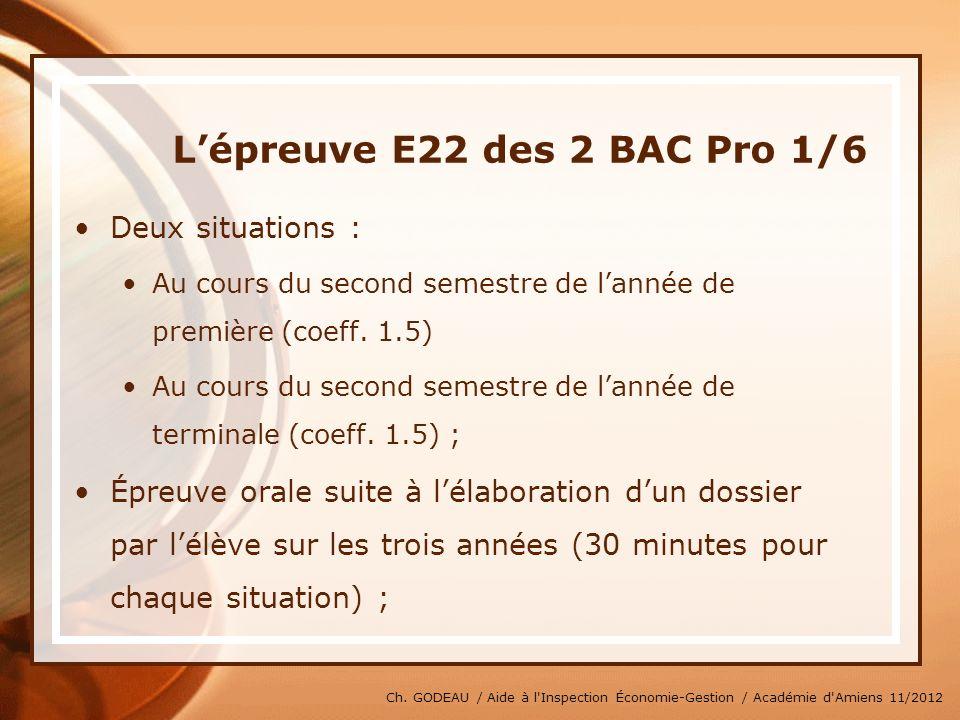 L'épreuve E22 des 2 BAC Pro 1/6