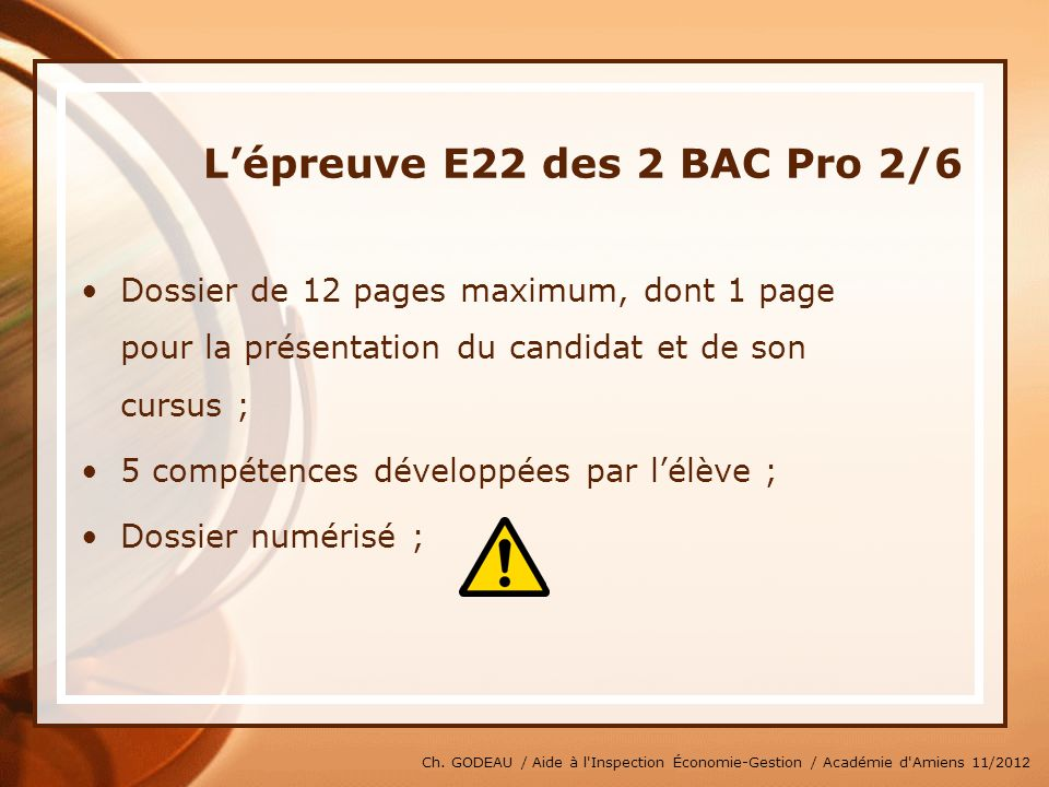 L'épreuve E22 des 2 BAC Pro 2/6