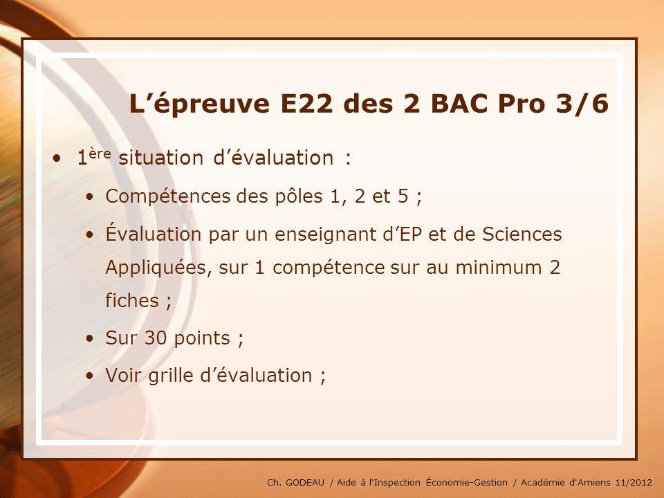 L'épreuve E22 des 2 BAC Pro 3/6