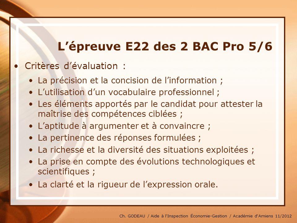 L'épreuve E22 des 2 BAC Pro 5/6
