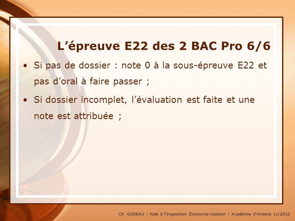 L'épreuve E22 des 2 BAC Pro 6/6
