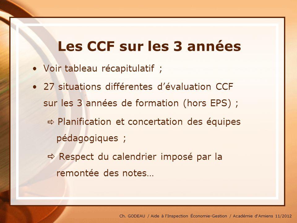 Les CCF sur les 3 années Voir tableau récapitulatif ;