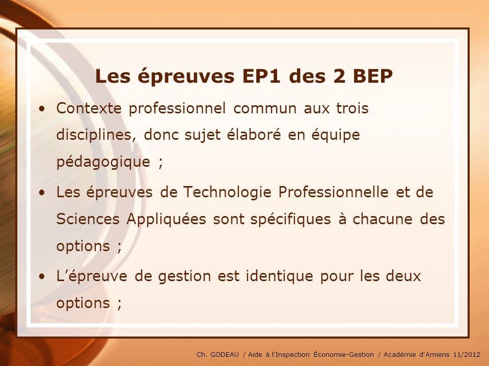 * 07/16/96. Les épreuves EP1 des 2 BEP. Contexte professionnel commun aux trois disciplines, donc sujet élaboré en équipe pédagogique ;