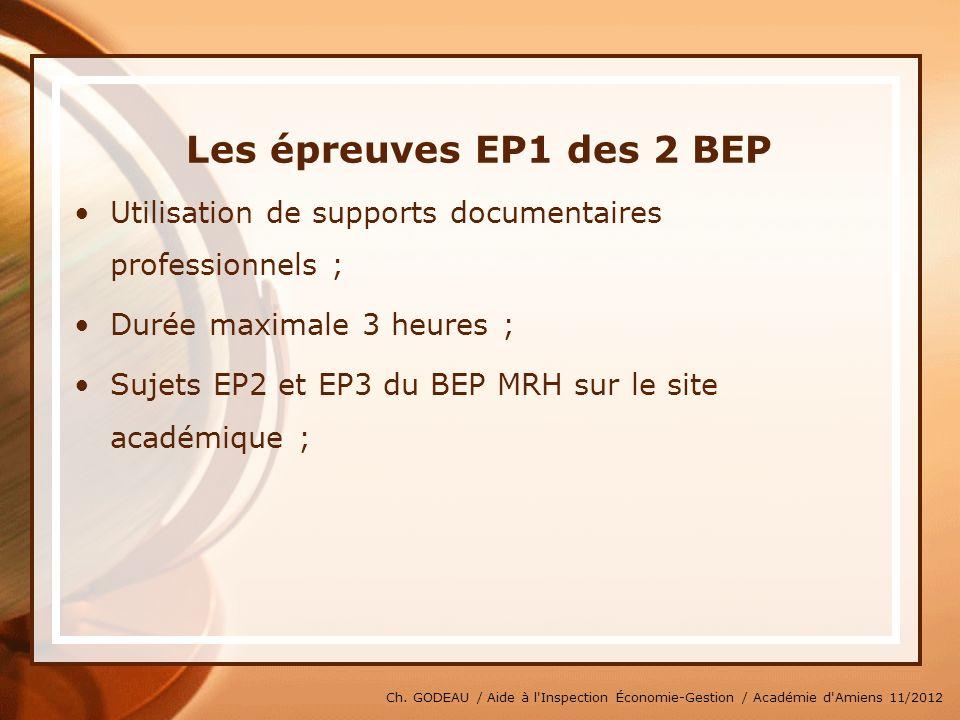 * 07/16/96. Les épreuves EP1 des 2 BEP. Utilisation de supports documentaires professionnels ; Durée maximale 3 heures ;