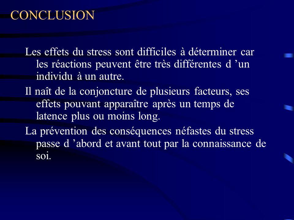CONCLUSION Les effets du stress sont difficiles à déterminer car les réactions peuvent être très différentes d 'un individu à un autre.