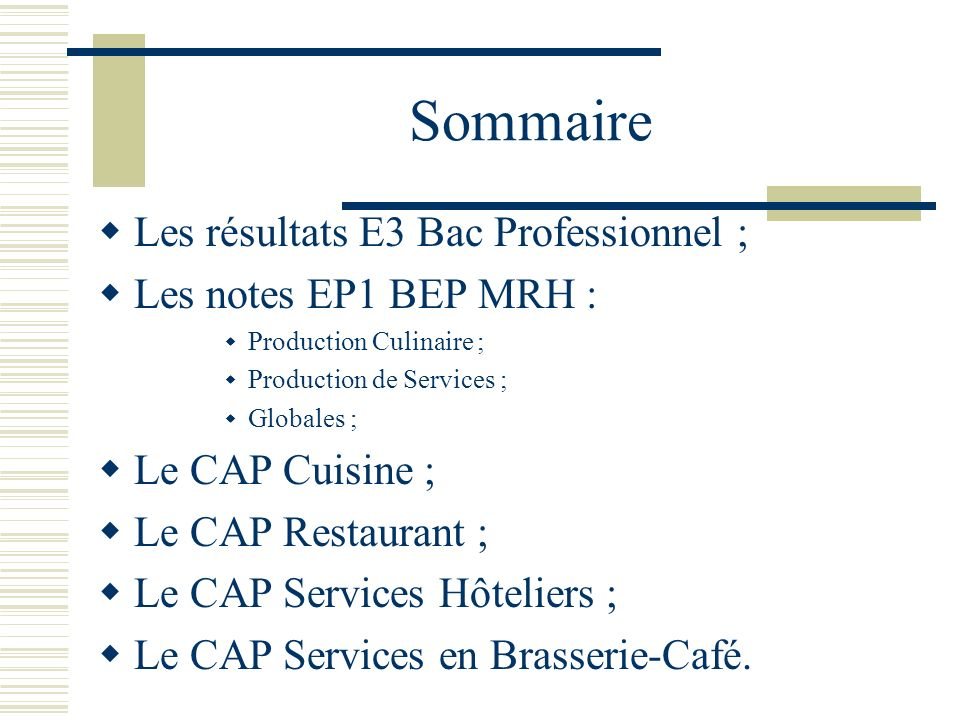 En h tellerie restauration ppt t l charger for Resultat cap cuisine
