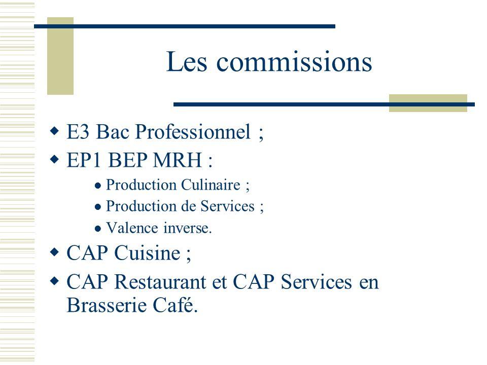 Les commissions E3 Bac Professionnel ; EP1 BEP MRH : CAP Cuisine ;