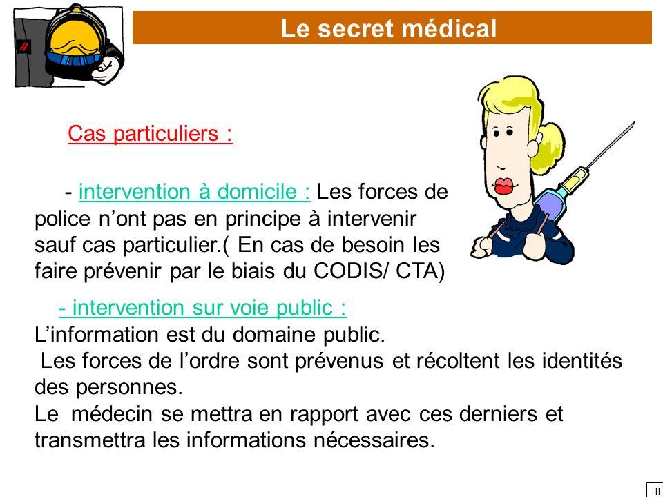 Le secret médical Cas particuliers :