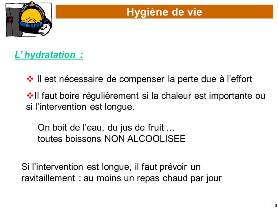 Hygiène de vie L' hydratation :