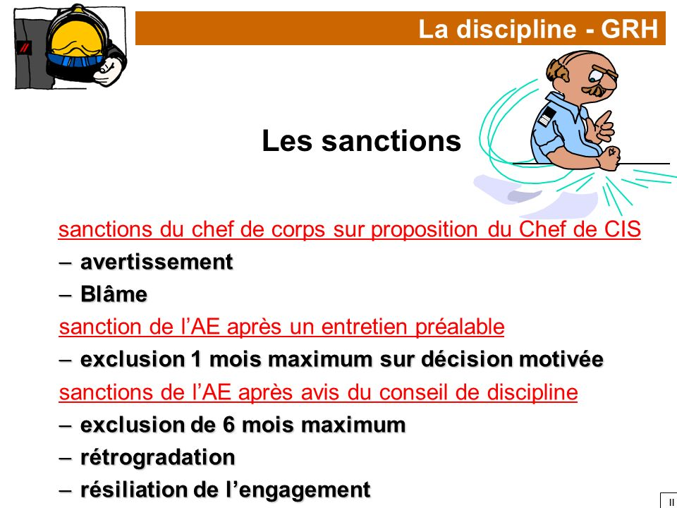 sanctions du chef de corps sur proposition du Chef de CIS