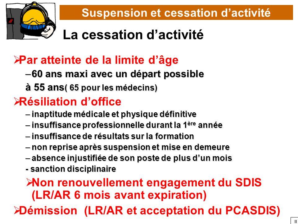Suspension et cessation d'activité La cessation d'activité
