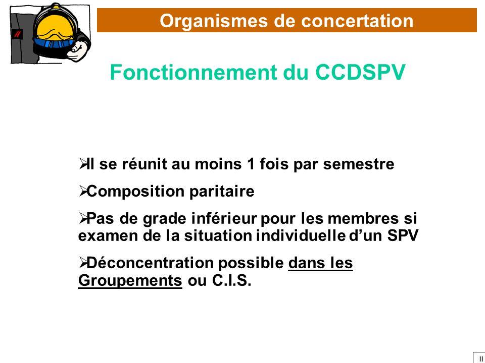 Organismes de concertation Fonctionnement du CCDSPV