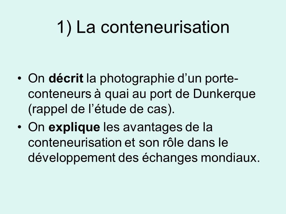 1) La conteneurisation On décrit la photographie d'un porte-conteneurs à quai au port de Dunkerque (rappel de l'étude de cas).