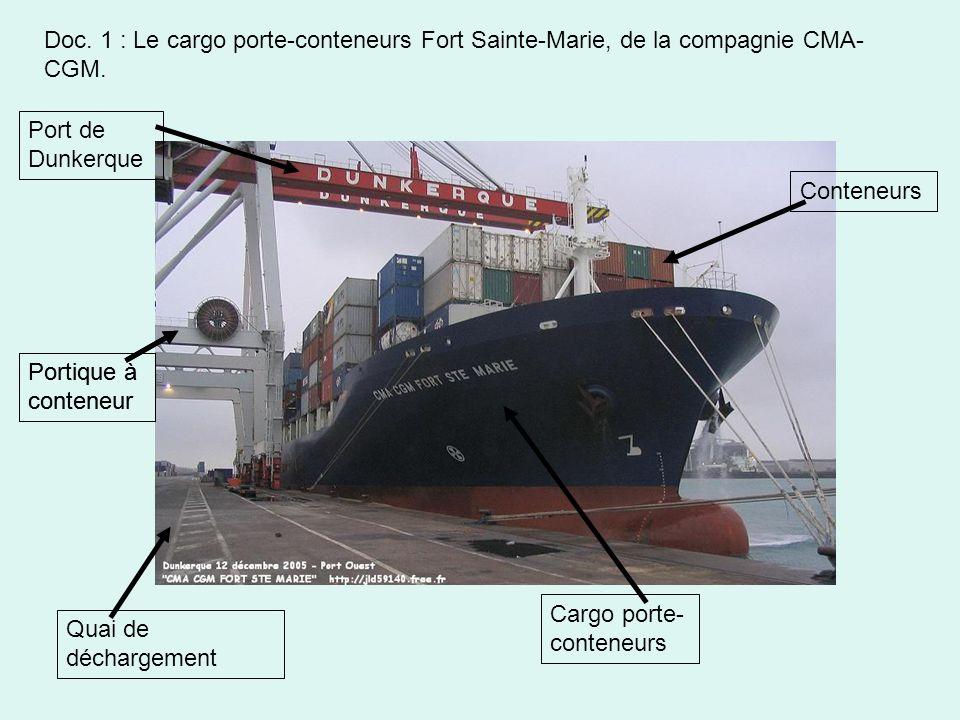 Doc. 1 : Le cargo porte-conteneurs Fort Sainte-Marie, de la compagnie CMA-CGM.