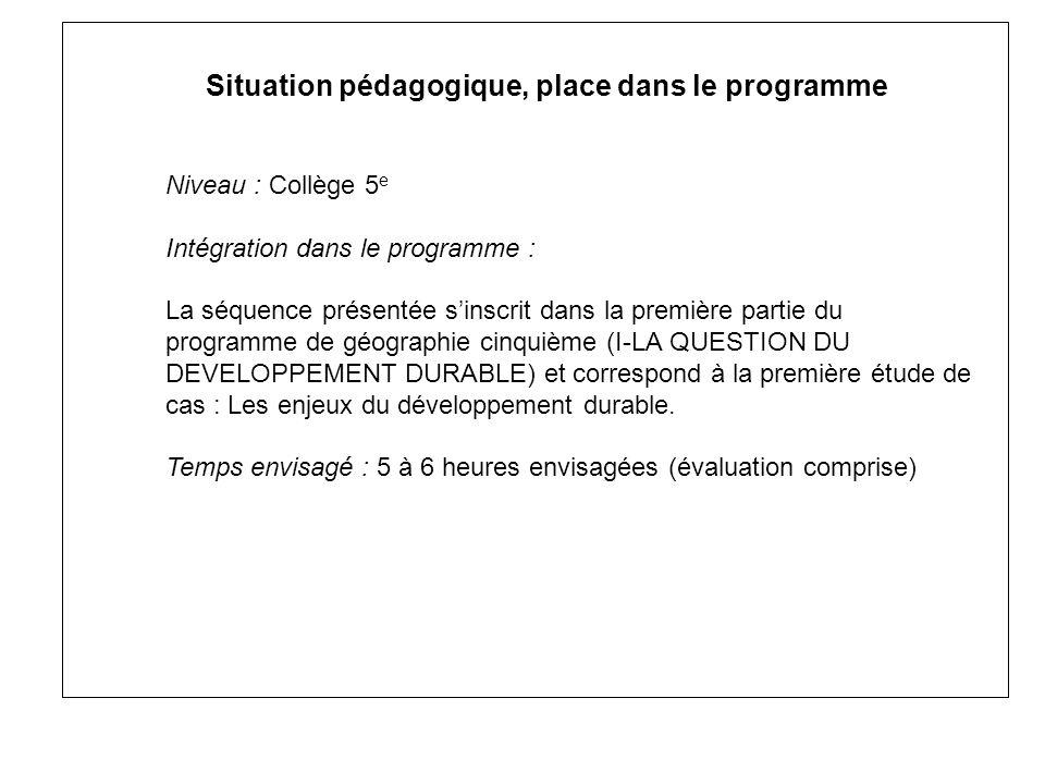 Situation pédagogique, place dans le programme