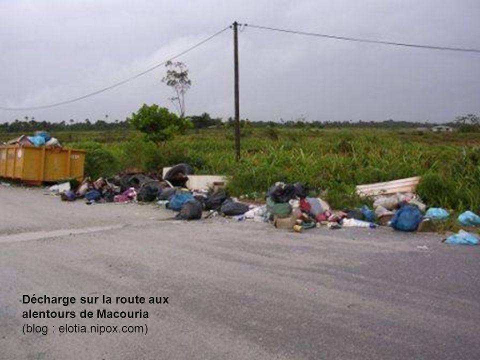 Décharge sur la route aux alentours de Macouria