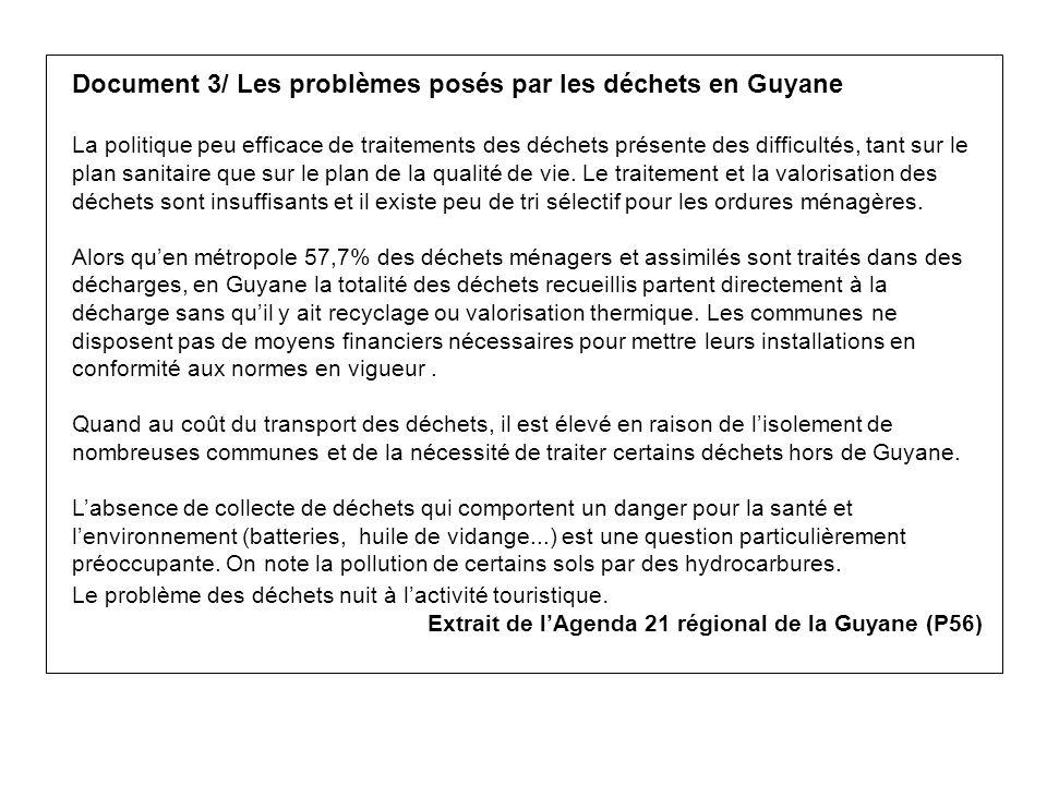 Document 3/ Les problèmes posés par les déchets en Guyane