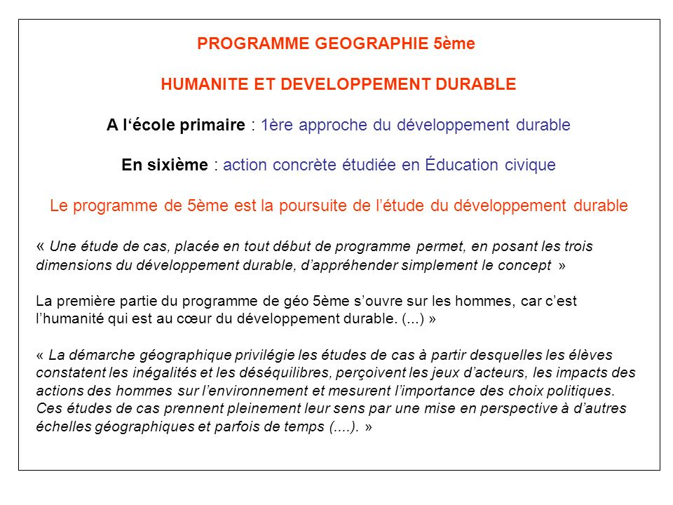 HUMANITE ET DEVELOPPEMENT DURABLE