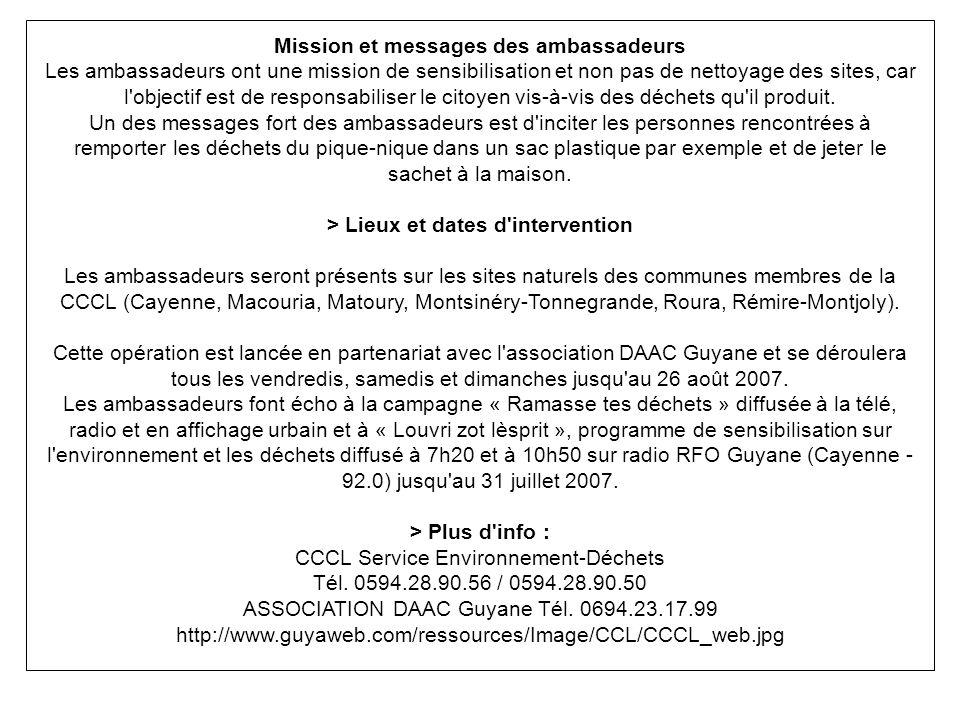 Mission et messages des ambassadeurs