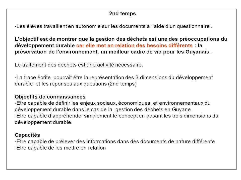 2nd temps -Les élèves travaillent en autonomie sur les documents à l'aide d'un questionnaire .