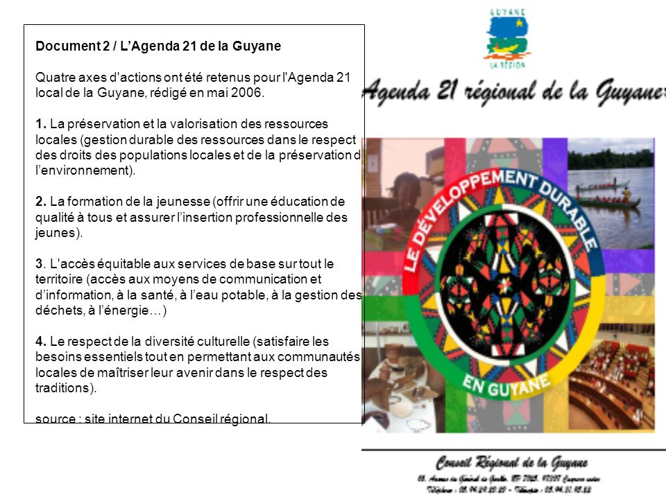 Document 2 / L'Agenda 21 de la Guyane