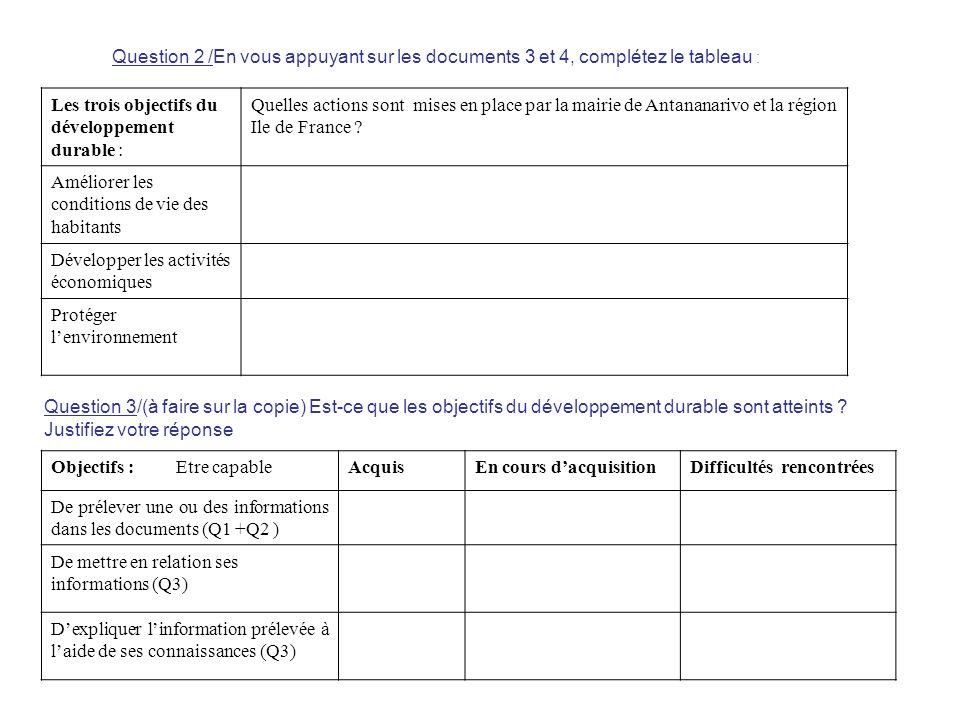 Question 2 /En vous appuyant sur les documents 3 et 4, complétez le tableau :