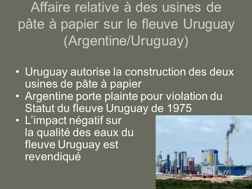 Affaire relative à des usines de pâte à papier sur le fleuve Uruguay (Argentine/Uruguay)