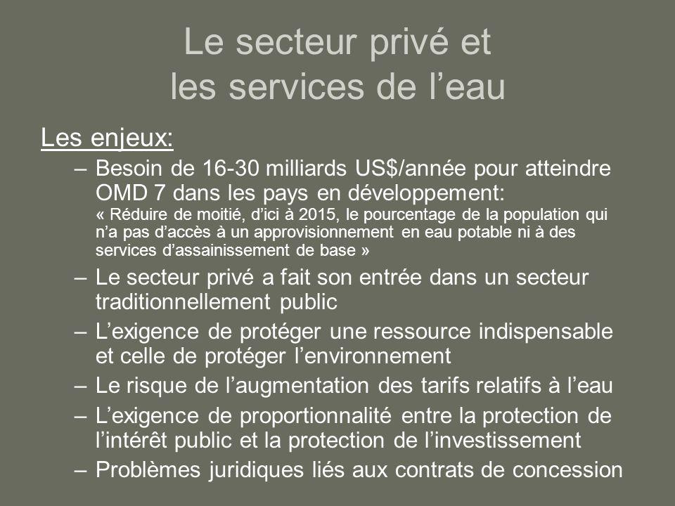 Le secteur privé et les services de l'eau