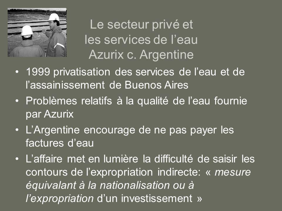 Le secteur privé et les services de l'eau Azurix c. Argentine