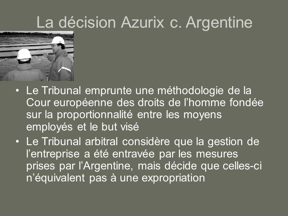 La décision Azurix c. Argentine