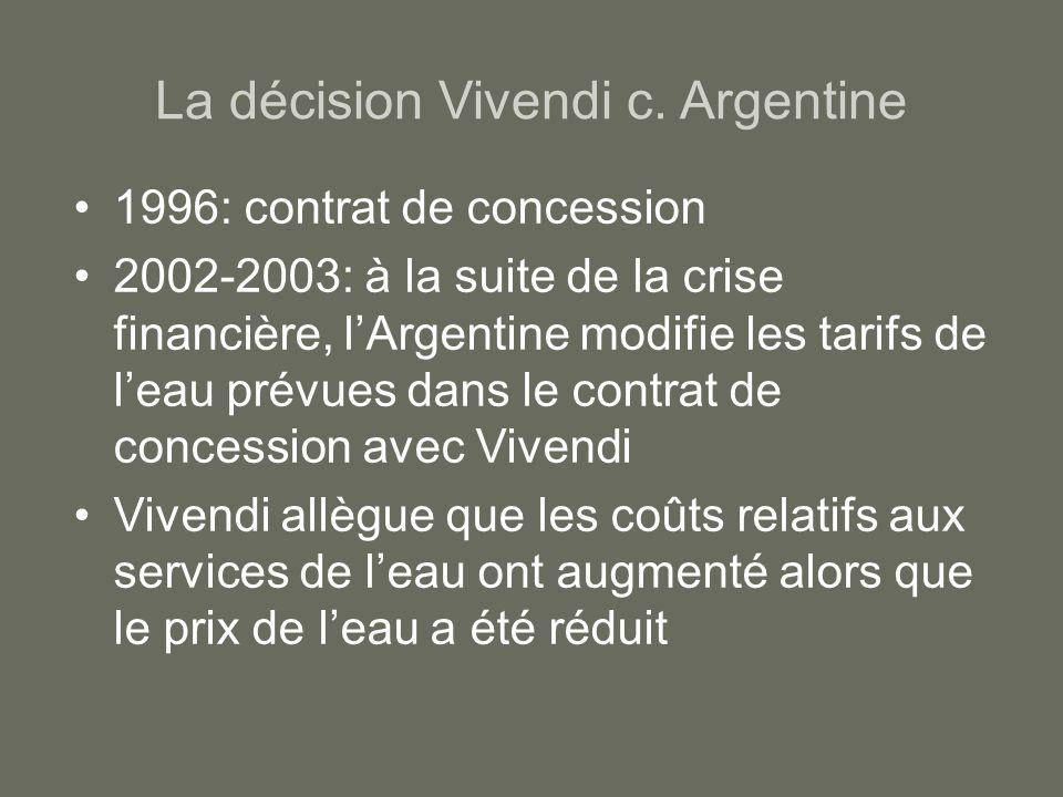 La décision Vivendi c. Argentine