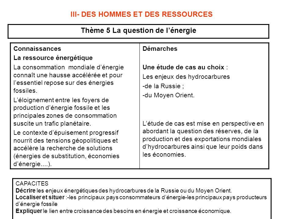 III- DES HOMMES ET DES RESSOURCES Thème 5 La question de l'énergie