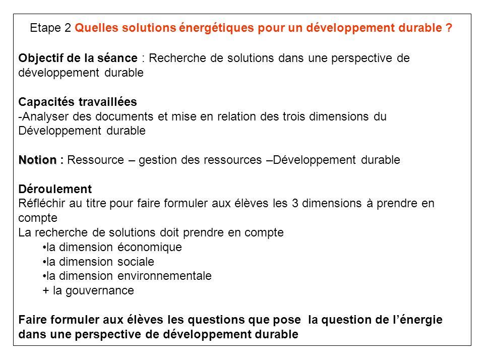 Etape 2 Quelles solutions énergétiques pour un développement durable