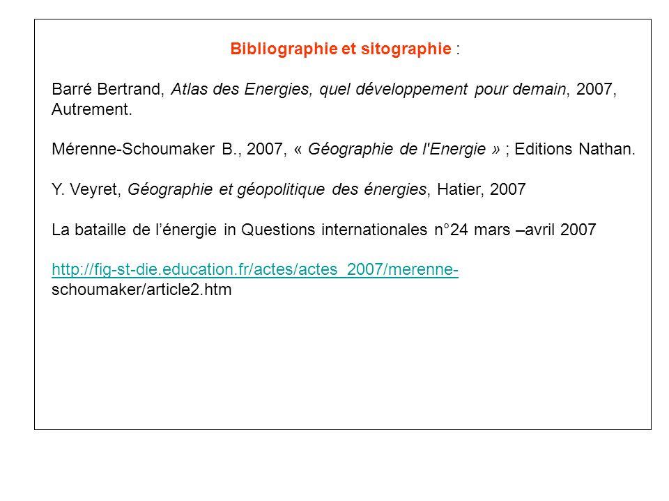 Bibliographie et sitographie :