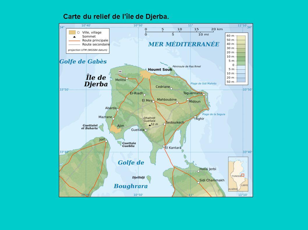 Carte du relief de l île de Djerba.