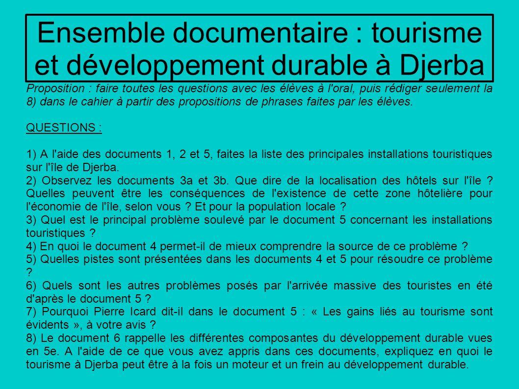 Ensemble documentaire : tourisme et développement durable à Djerba