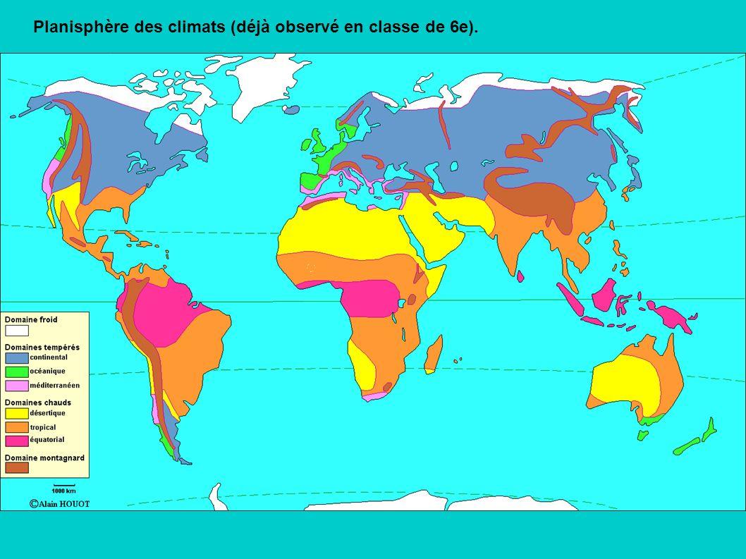 Planisphère des climats (déjà observé en classe de 6e).