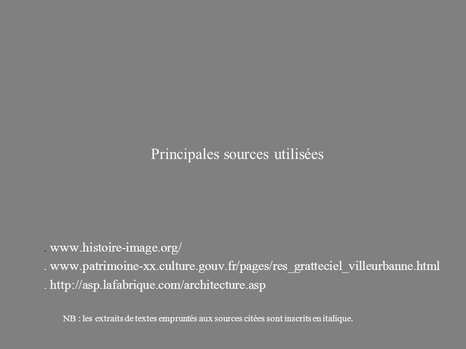 Principales sources utilisées