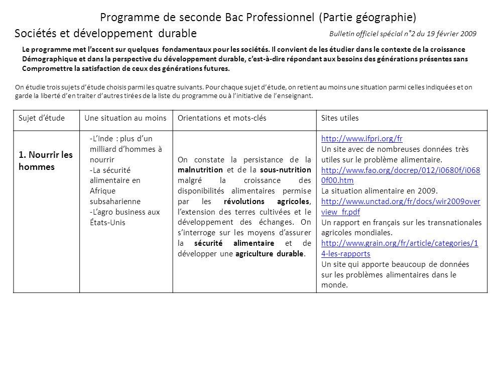 Programme de seconde Bac Professionnel (Partie géographie)