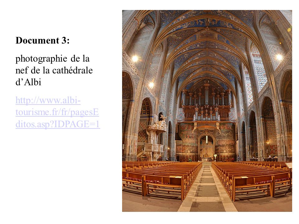 Document 3: photographie de la nef de la cathédrale d'Albi.