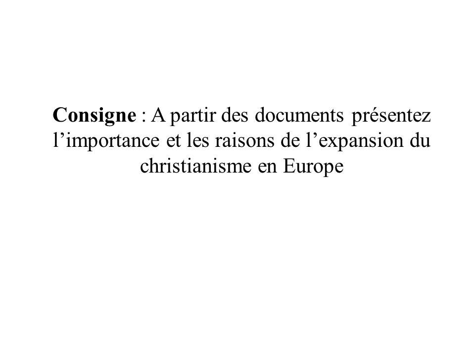 Consigne : A partir des documents présentez l'importance et les raisons de l'expansion du christianisme en Europe