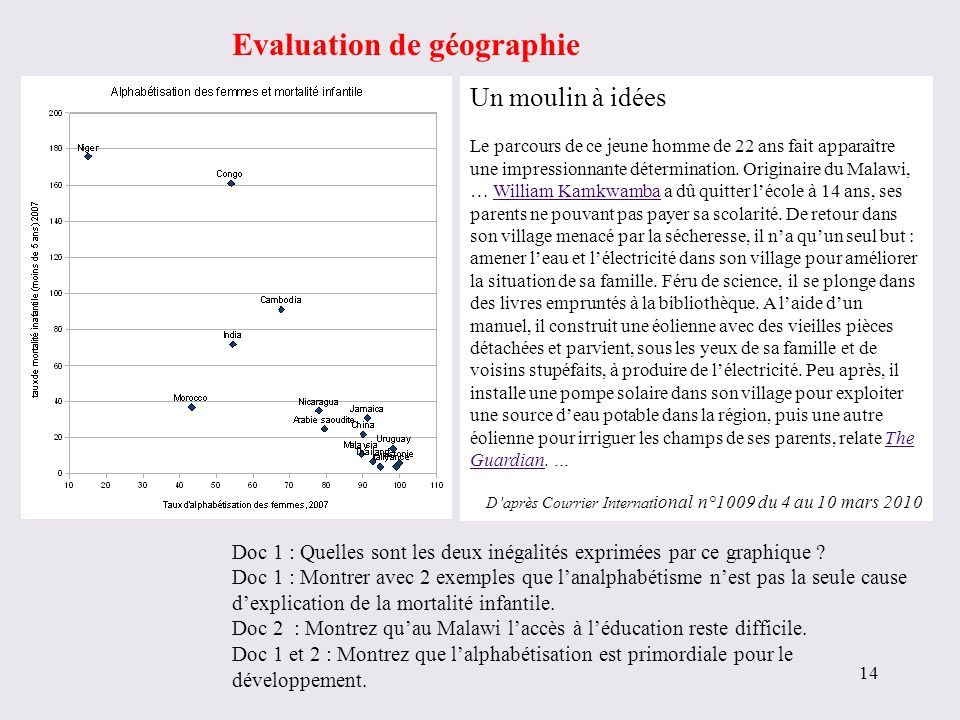 Evaluation de géographie