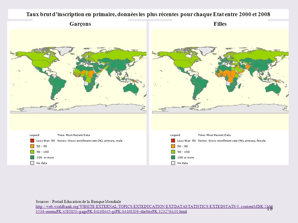 Taux brut d'inscription en primaire, données les plus récentes pour chaque Etat entre 2000 et 2008