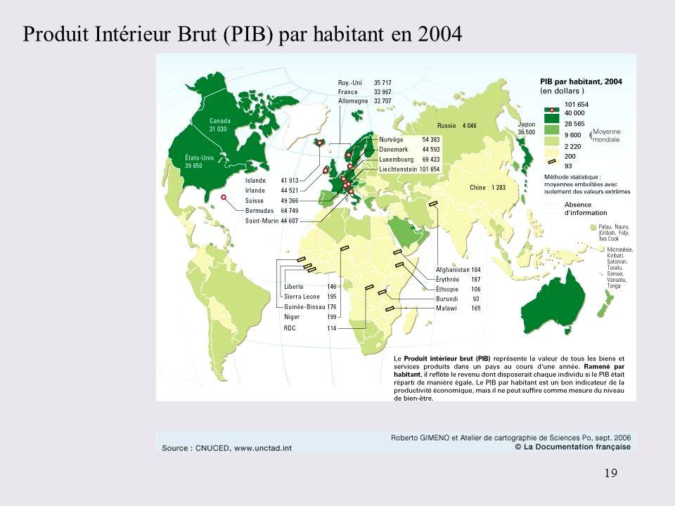 Produit Intérieur Brut (PIB) par habitant en 2004