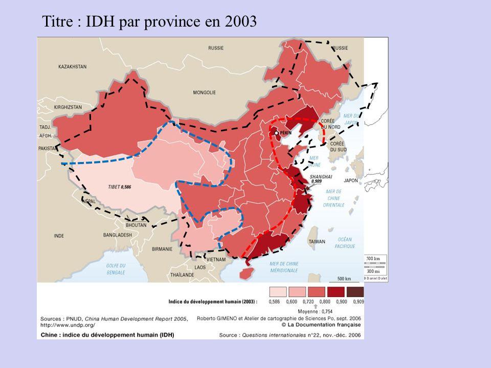 Titre : IDH par province en 2003